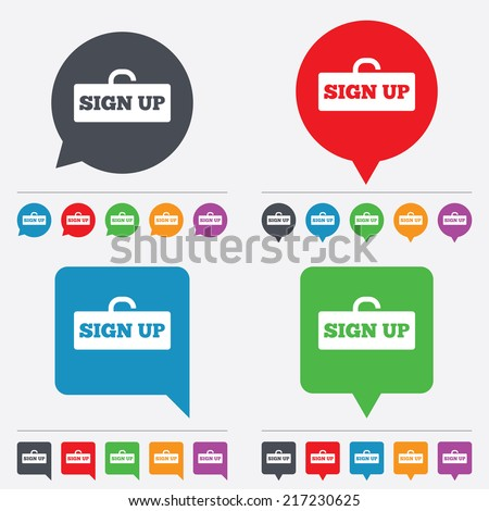 Sign up sign icon. Registration symbol. Lock icon. Speech bubbles information icons. 24 colored buttons. Vector - stock vector