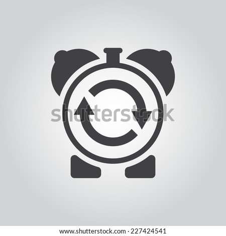 sign update inside the alarm clock - stock vector