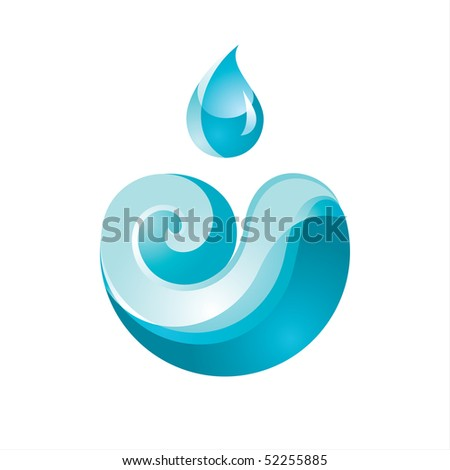Sign Wave with a Drop blue - stock vector