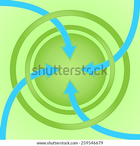 Sign with circles and arrows on a green background