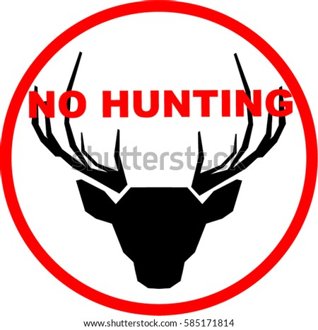 Sign Deer Head Saying No Hunting Stock Vector Royalty Free