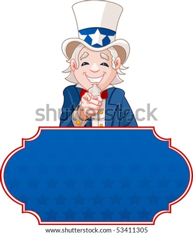 Sign with Uncle Sam pointing. Perfect for a USA or Fourth of July illustration.
