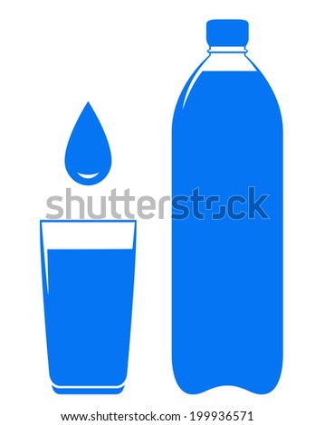 sign with water bottle glass and drop on white background - stock vector