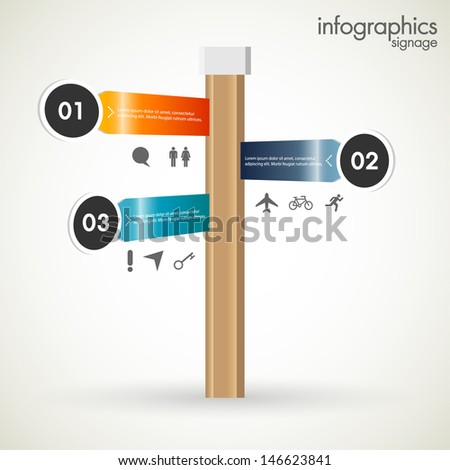 Signage Infographics template, vector. - stock vector