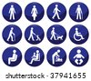 Signage type people icon set each individually layered - stock vector