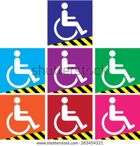 Signal ramps for the disabled colorful vector background. - stock vector