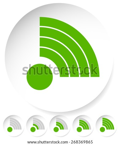 Signal Stength Indicator Set. Internet, Wi-fi, Wireless Connection. - stock vector