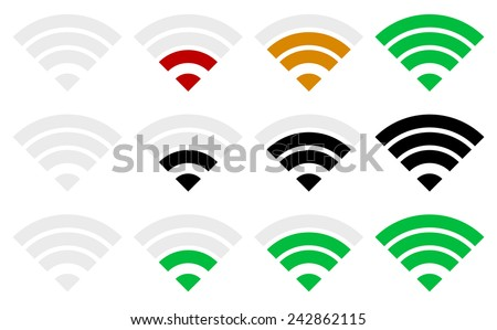 Signal strength indicator template. (Wi-fi, wireless connection, antenna signal strength.) - stock vector