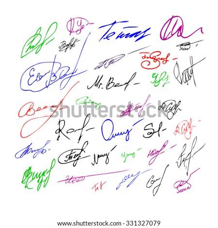 Signatures set. Vector - stock vector