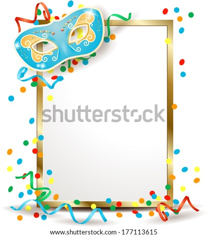 Signboard with carnival mask, vertical version. Vector - stock vector