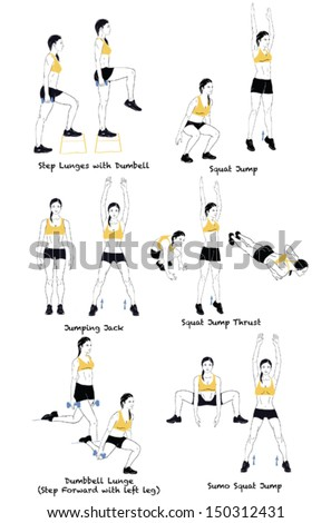 Signed Sports silhouettes of woman doing exercises.Girl dressed in yellow t-short - stock vector