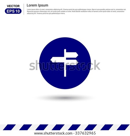 signpost Icon. Blue Button. Vector Safety Sign Icon