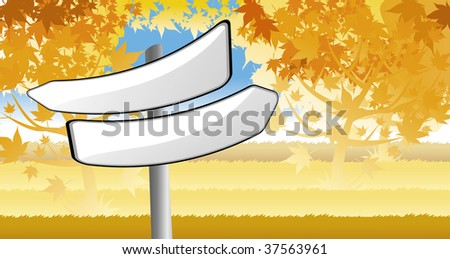 signpost in autumn forest background