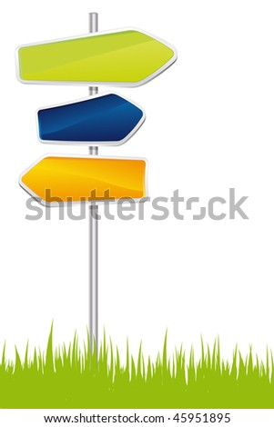 Signpost on the grass - vector illustration - stock vector