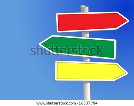 Signpost with three arrows (vector) to add your own text - stock vector
