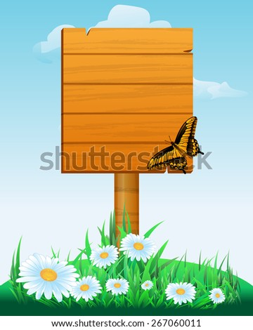 Signpost. wooden sign boards with flowers and butterfly. Vector illustration - stock vector