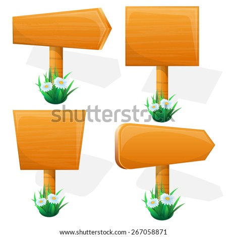 Signpost. wooden sign boards with flowers. Vector illustration - stock vector