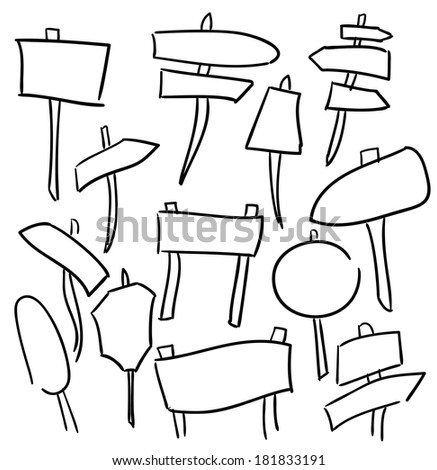 Signs and Direction Arrows - Sketch Drawing - stock vector