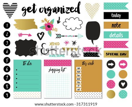 Signs and symbols for organized your planner. Template for scrapbooking, wrapping, wedding invitation, notebooks, diary. - stock vector