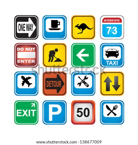 signs app icons - stock vector