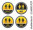 Signs for restroom men women, vector design elements - stock vector