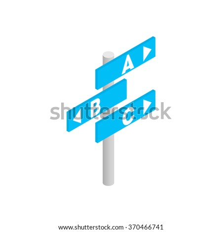 Signs in airport direction isometric 3d icon isolated on a white background - stock vector
