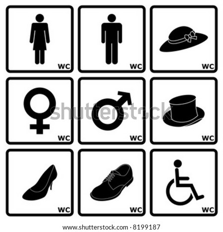 Signs indicating Women's and Men's Toilets - stock vector