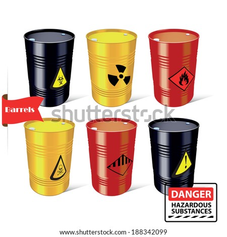 Signs of hazardous substances. Danger. Steel barrels. Vector illustration. - stock vector