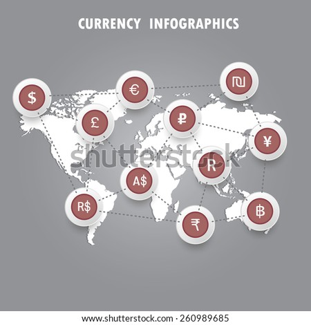 Signs of the currencies on the world map. Infographics. Vector.  - stock vector