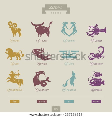 signs of the zodiac - stock vector