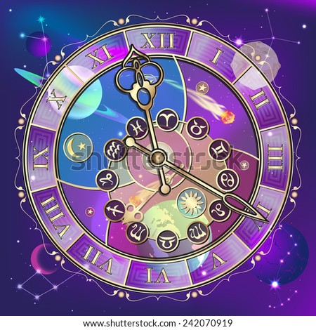 signs of the zodiac, astrological clock, vector illustration