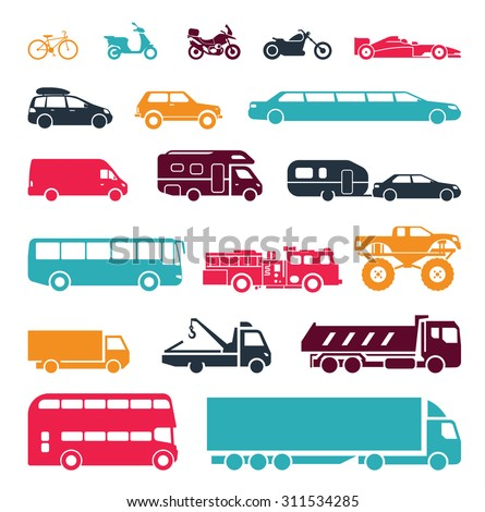 Signs presenting different means of transportation. Collection of signs presenting different modes of transport on land. Modern means of transportation. Transportation icons. - stock vector