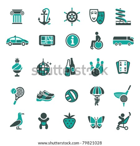 Signs. Recreation, Travel & Vacation. Fourth set color icons - stock vector