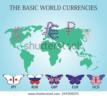 Signs the world's major currencies of the butterflies on the world map - stock vector