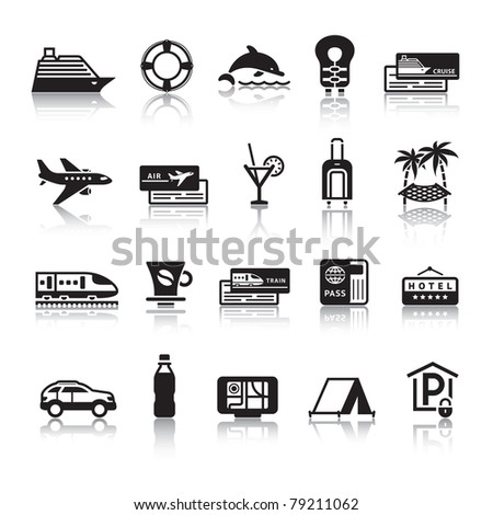 Signs. Tourism. Travel. Sports. First set black icons with reflection - stock vector