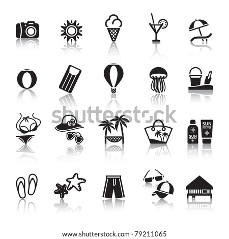 Signs. Tourism. Travel. Sports. Second set black icons with reflection - stock vector