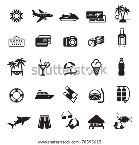 Signs. Vacation, Travel & Recreation. First set icons in black - stock vector