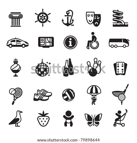 Signs. Vacation, Travel & Recreation. Fourth set icons in black - stock vector