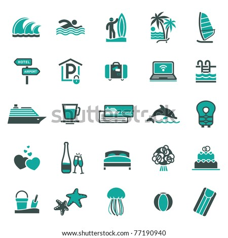 Signs. Vacation, Travel & Recreation. Third set icons