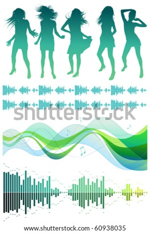 Sihouettes of dancing girls and musical design elements - stock vector