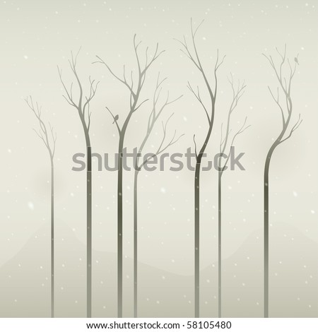Silent winter.  Dried trees in the winter, applied in soft color effects.  The trees are uniquely: long, thin and simple. - stock vector