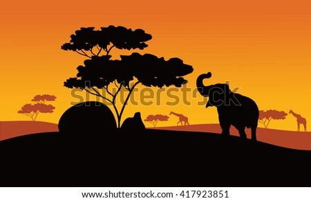 Silhhouette of elephant in park with tree and giraffe - stock vector