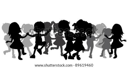 silhoeuttes crowd dancing kids - stock vector