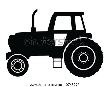 Silhouette a tractor, vector illustration
