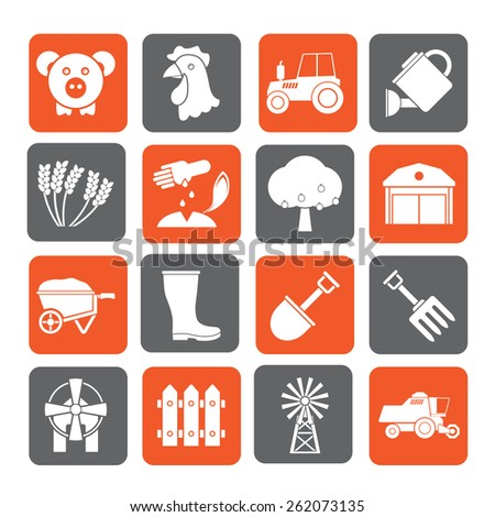 Silhouette Agriculture and farming icons - vector icon set - stock vector