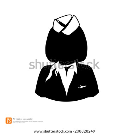 Silhouette  air hostess avatar profile pictures  - stock vector