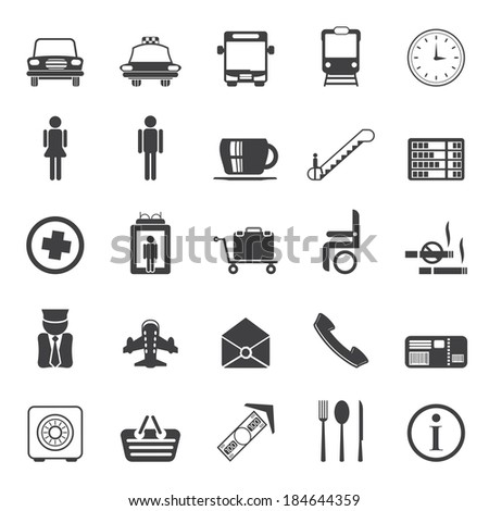 Silhouette Airport, travel and transportation vector icon set - stock vector
