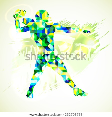 Silhouette American Football Player in Mosaic Pattern and Fans on grunge background. Vector illustration. - stock vector
