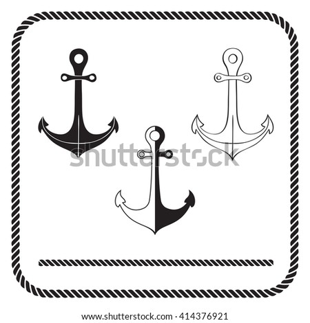 Silhouette anchors and rope border - stock vector