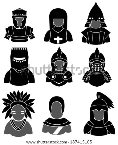 Silhouette ancient Asian and European warrior such as mongol, indian, knight, crusader, Templar, and chinese with plate mail armor icon collection set, create by vector  - stock vector
